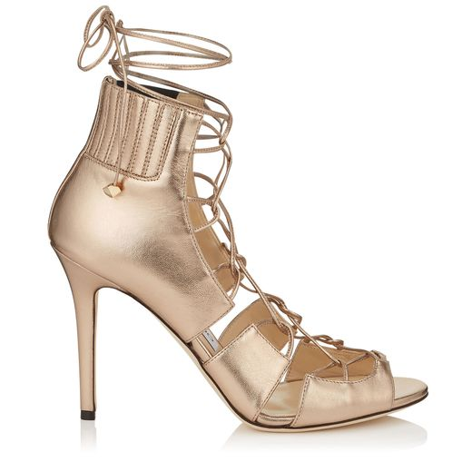 botin lace up dorado jimmy choo