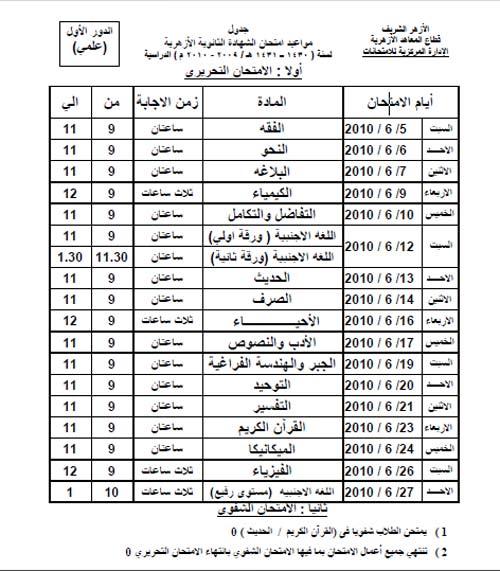 جدول امتحانات الثانوية العامة الازهرية - علمي