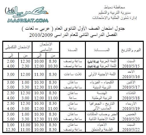 جدول امتحانات الصف الاول الثانوي 2010 دمياط
