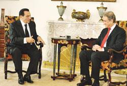 الرئيس حسني مبارك مع وزير الخارجية الباكستاني