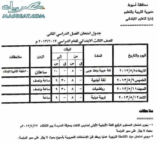 جدول امتحانات الصف الثالث الابتدائي 2018 اسيوط الترم الثاني