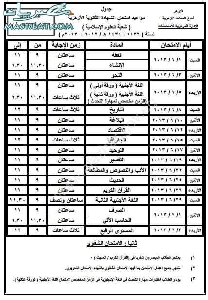 جدول الثانوية الازهرية 2018 الشعبة الاسلامية