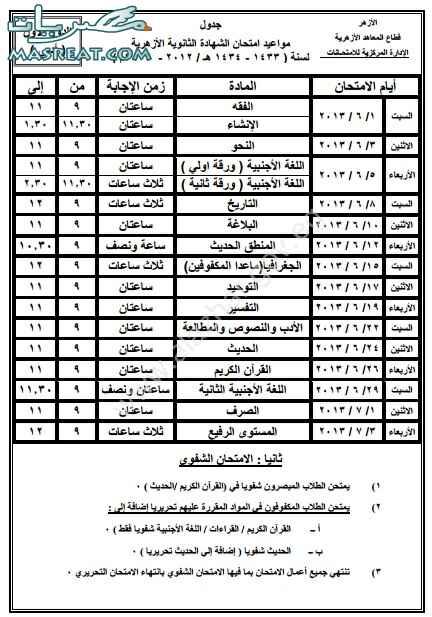 جدول امتحانات الثانوية الازهرية 2018 ادبي