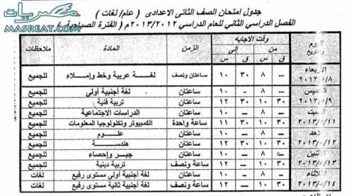 جدول امتحانات الصف الثاني الاعدادي 2018 اسوان