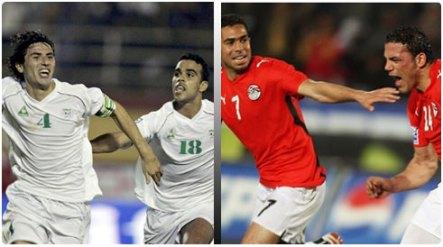 لاعبو منتخب مصر و منتخب الجزائر