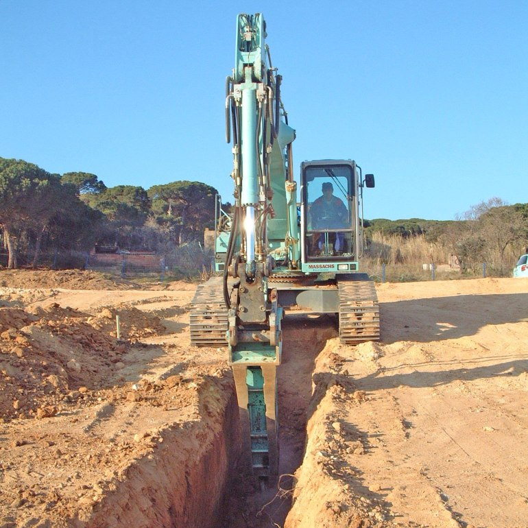 Excavació roca martell hidràulic