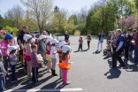 Children in Easthampton listen to Attorney David W. White speak about bicycle safety.