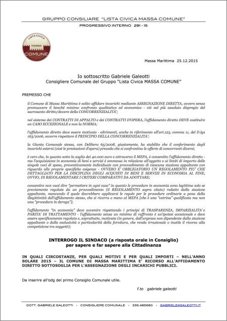 291-15 INTERROGAZIONE ORALE - affidamenti diretti