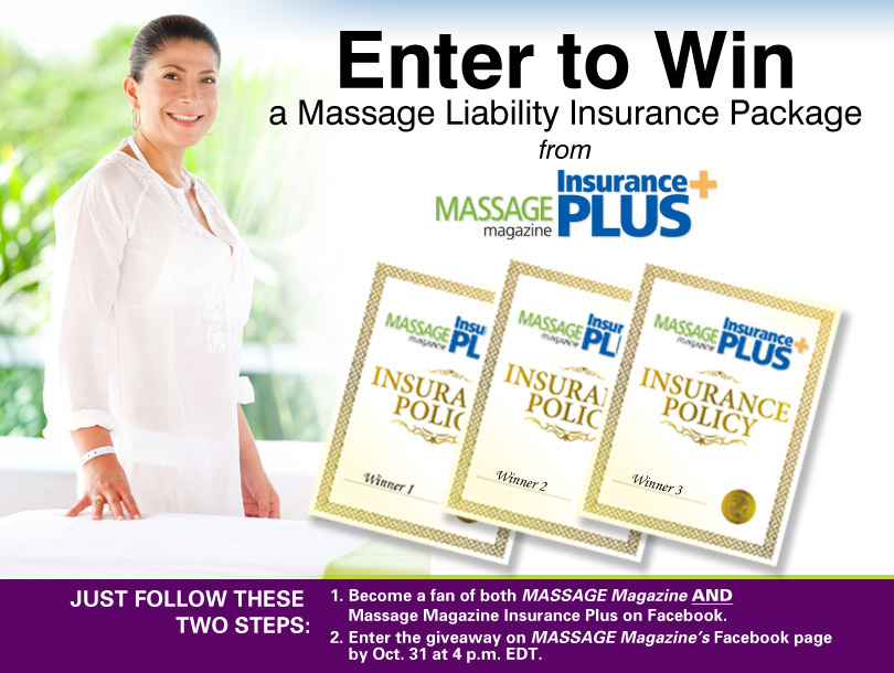 Massage Therapists: Win a Massage Liability Insurance Package in October Giveaway, MASSAGE Magazine