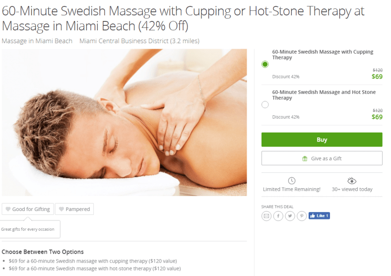 60-Minute Swedish Massage with Cupping or Hot-Stone Therapy at Massage in Miami Beach (42% Off)