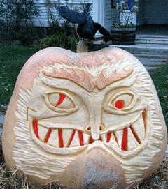 Giant carved pumpkin at Ipswich River Wildlife Sanctuary