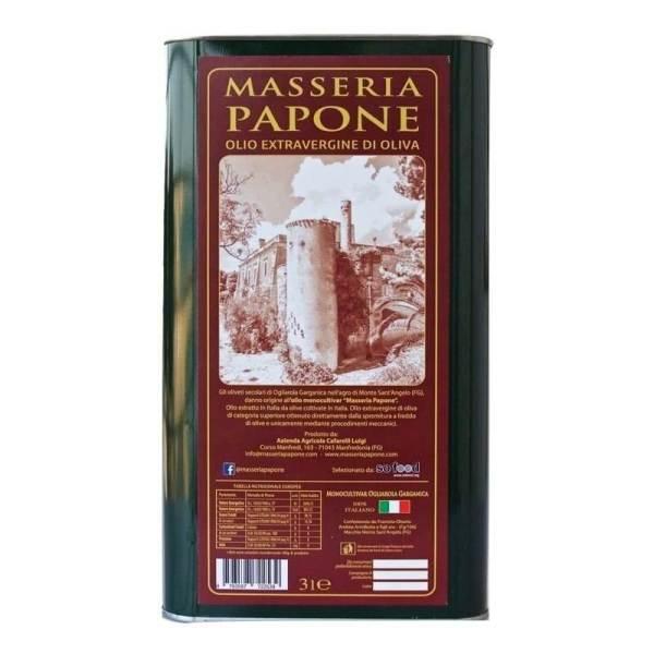 Lattine 3 litri olio extravergine di oliva Masseria Papone