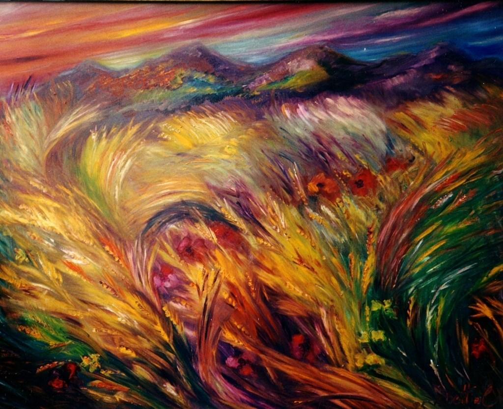 Massimiliana Bettiol Il canto del grano olio su tela,80x100,1981