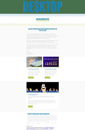 responsive email design shown on desktop browser