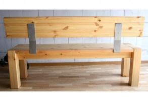 Massivholz Sitzbank 160cm mit Rückenlehne Holzbank Lehne ...