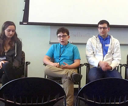 Three seated EdCamp Access student panelists.