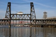 Portland, OR: The Steel Bridge with the Amtrak Cascades crossing on the lower level.