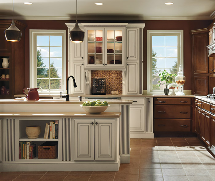 Dark Maple Kitchen Cabinets with Ivory Accents - MasterBrand on Dark Maple Cabinets  id=20350