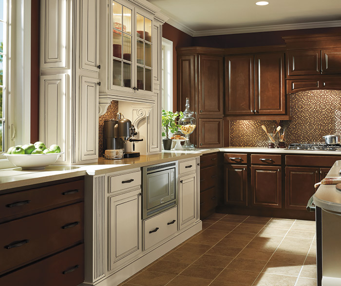 Dark Maple Kitchen Cabinets with Ivory Accents - MasterBrand on Dark Maple Cabinets  id=59990
