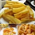Mandioca frita bem sequinha e super crocante