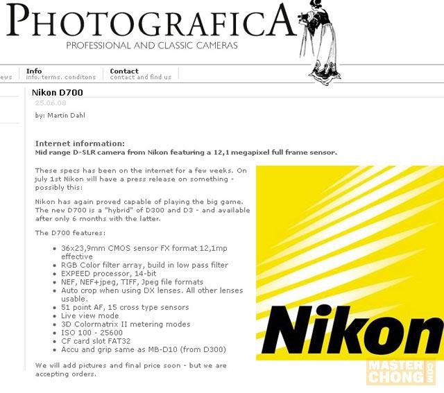 Screenshot of Nikon D700 Product Description at Photografica