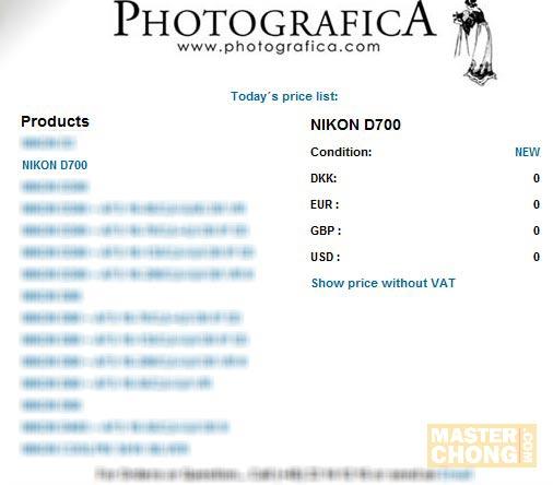 Screenshot of Nikon D700 Price List at Photografica