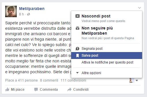 Come Salvare un Post di Facebook