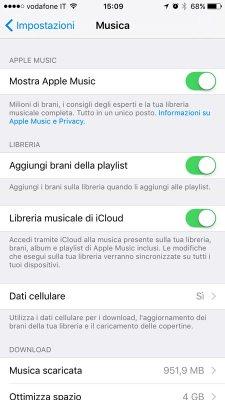 impostazioni musica iphone