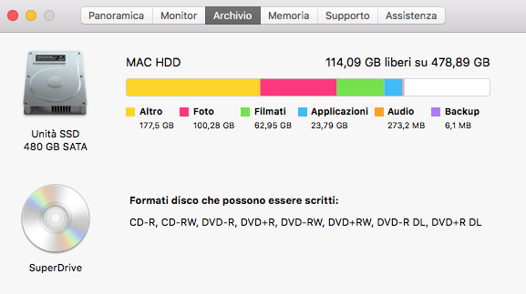 Scheda Archivio Spazio Disponibile Mac