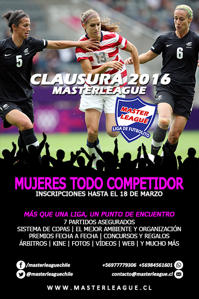 FLYER MUJERES CLAUSURA 2016 MASTER LEAGUE