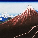 Japanese woodblock print, 'Rainstorm Beneath the Summit' by Katsushika Hokusai
