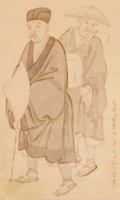 Matsuo Basho on the way of Oku-no-Hosomichi with Sora