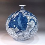 Top class Sometsuke blue and white Imari porcelain vases