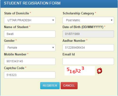 National Scholarship Portal Student Registration From