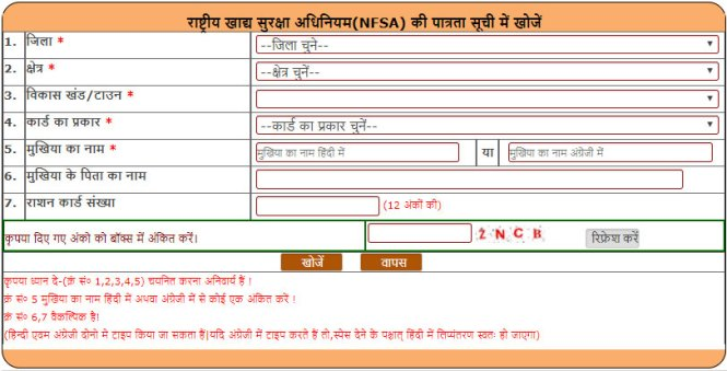 UP Ration Card List 2018 Search Name