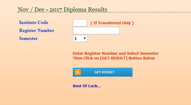 BTE Karnataka Diploma Result 2017