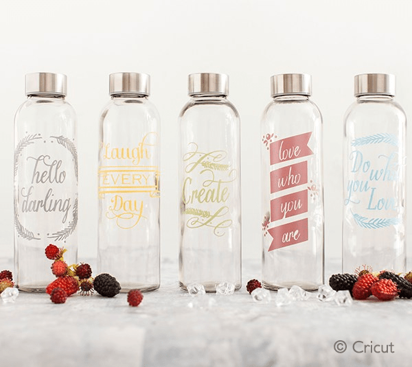 Adhesive foil designs on water bottles - Master Procraftinator
