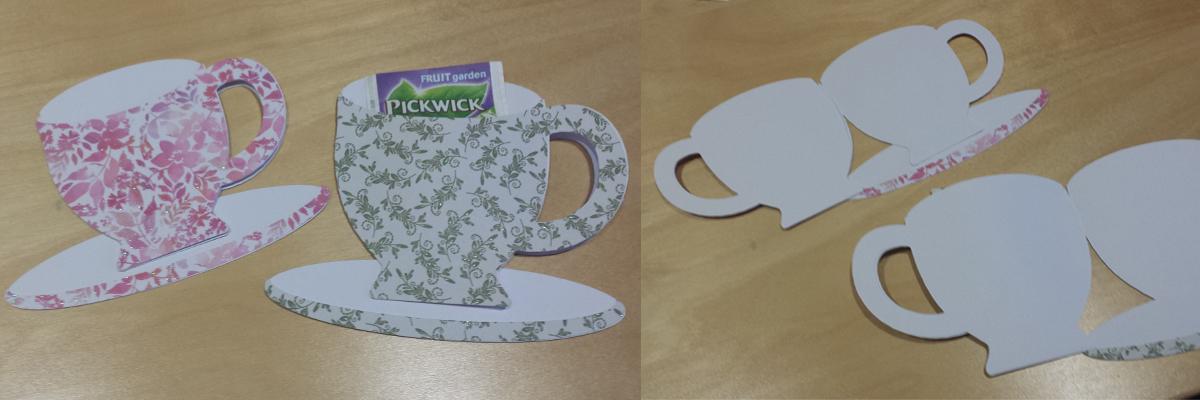 Thee kopje en schotel met vakje voor thee zakje