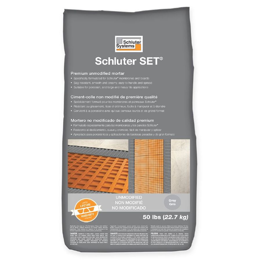 schluter set unmodified thin set mortar