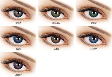 Οι φακοί επαφής Adore Dare διατίθενται σε 7 χρώματισμούς: Aqua, Blue, Gray, Green, Hazel, Violet , Yellow.