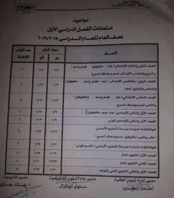 جدول امتحانات الصف الثالث الاعدادي الترم الاول