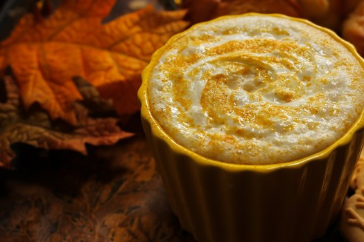 Pumpkin spice latte with a fall theme background