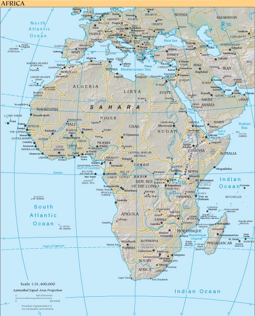 The map of Africa above and other country and continent maps listed