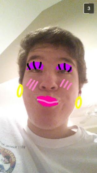 Jackson Negus has decided to keep it tasteful in this snapsterpiece. Many think caked-on layers of makeup at a high school age is simply inappropriate and unattractive, so Jackson went for a more 'natural' look. With rosy cheeks and a seductive stare, Jackson's artwork is sure to get him a lot of attention. This snapsterpiece is versatile in that it not only amuses and entertains, but also gives us a quick makeup lesson!