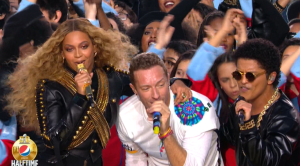 Coldplay, Beyoncé, and Bruno Mars performing at the halftime show