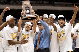 VCU celebrates after making it into the Final Four in 2011