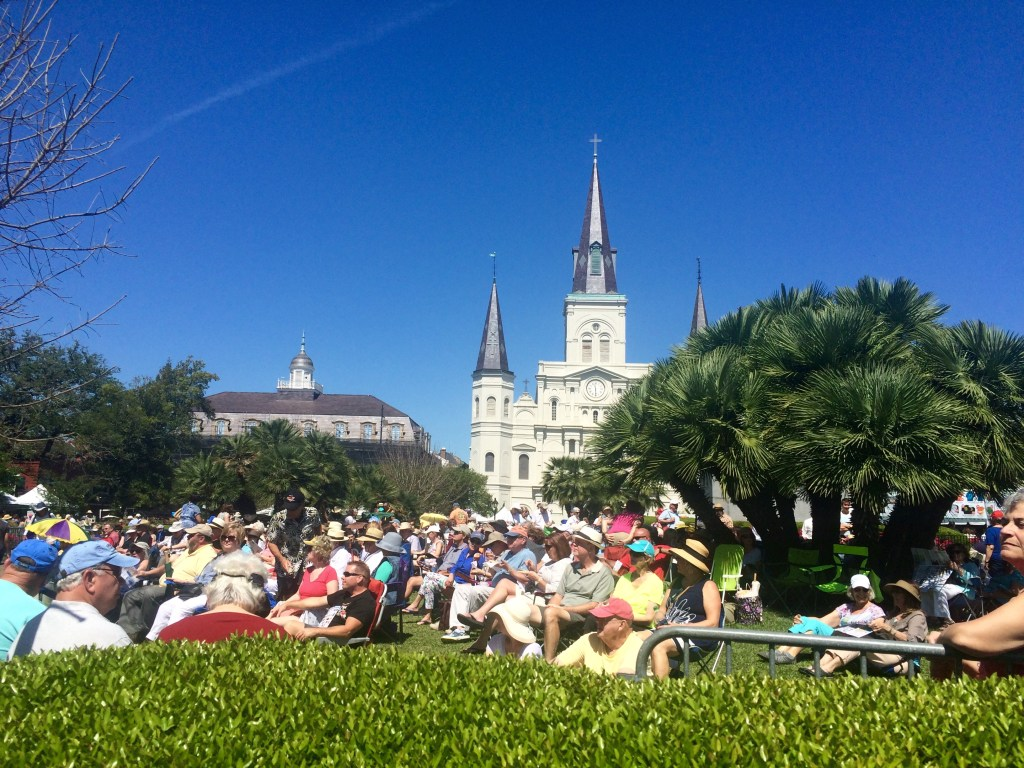 Audience listening to a jazz performance in Jackson Square.