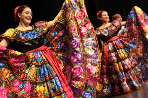 Sofía Lazcano and Paola Flores from Mexico perform a traditional dance.