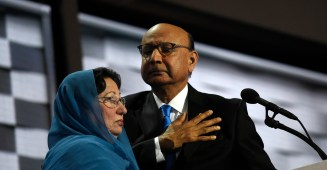 Khizr Khan and his wife, Ghazala Khan, at the DNC in July. Credit: The Washington Post via Getty Images.