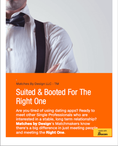 Opt-In to Our Mail List and receive as a gift our New e-book, Suited and  Booted For the Right One. The e-book is 23 pages of valuable information on  dating ...